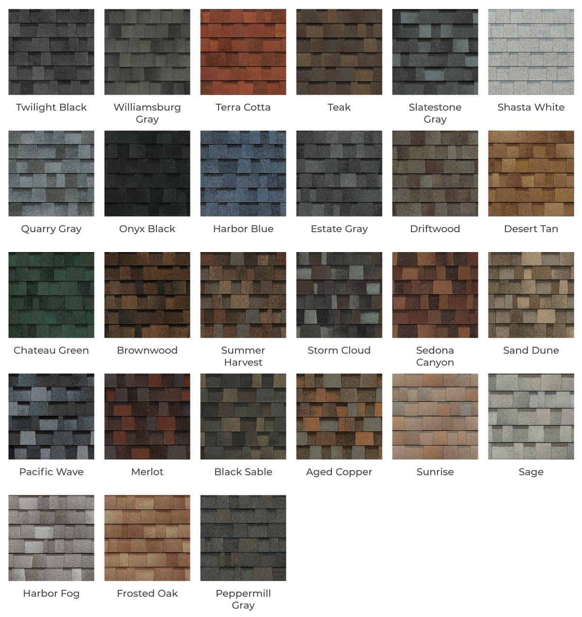 Landmark Roofing color options