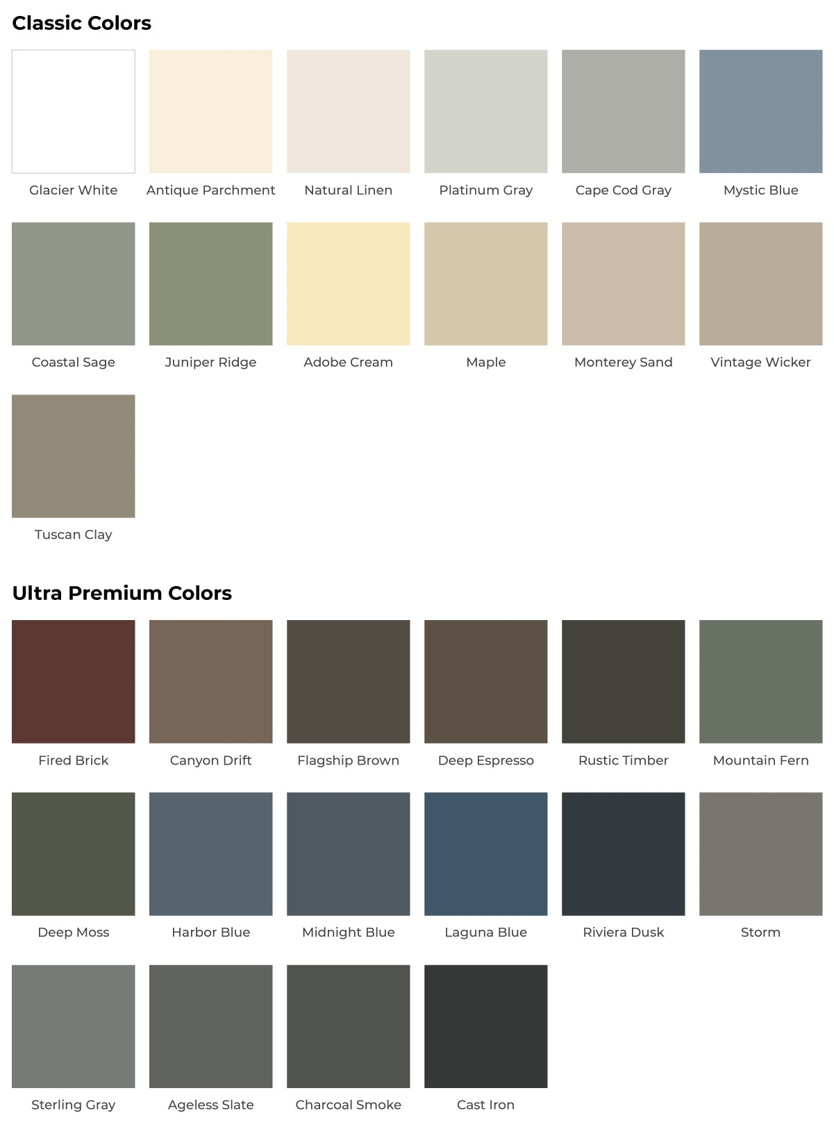 Landmark Roofing color options